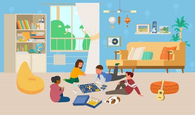 Dzieci bawią się w grę planszową na podłodze w pokoju dziecięcym