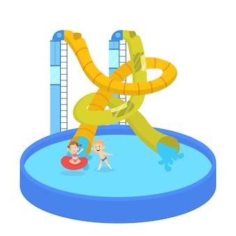 Dzieci bawią się w parku wodnym. letnie wakacje i zabawa na zjeżdżalni. ekstremalny wypoczynek. ilustracja w stylu kreskówki