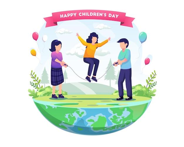 Dzieci bawią się w skakankę, aby świętować światowy dzień dziecka ilustracja