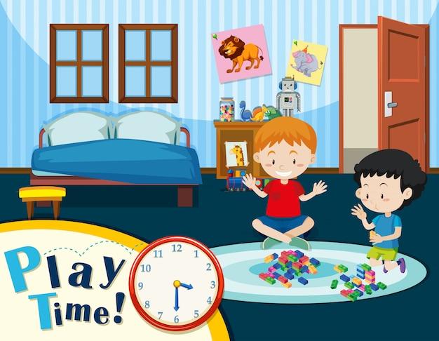 Dzieci bawią się w sypialni