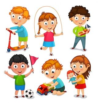 Dzieci bawią się zabawkami. chłopcy jeżdżą na hulajnodze, bawią się samochodzikiem i piłką. dziewczyny skaczą na linie i bawią się lalką. ilustracja