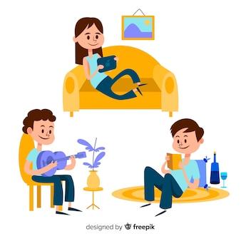 Dzieci bawiące się i robiące zajęcia w domu. projektowanie postaci