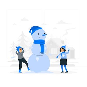 Dzieci bawiące się ilustracja koncepcja śniegu