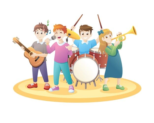 Dzieci bawiące się muzyką