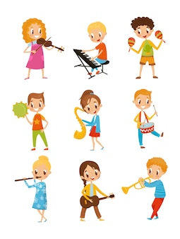 Dzieci bawiące się na instrumencie muzycznym, utalentowanych muzyków postaci z kreskówek ilustracje na białym tle