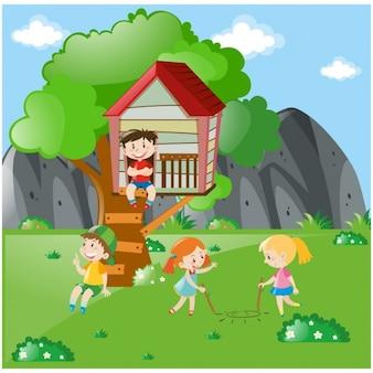 Dzieci bawiące się na łące