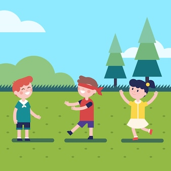 Dzieci bawiące się na wolnym powietrzu na świeżym powietrzu