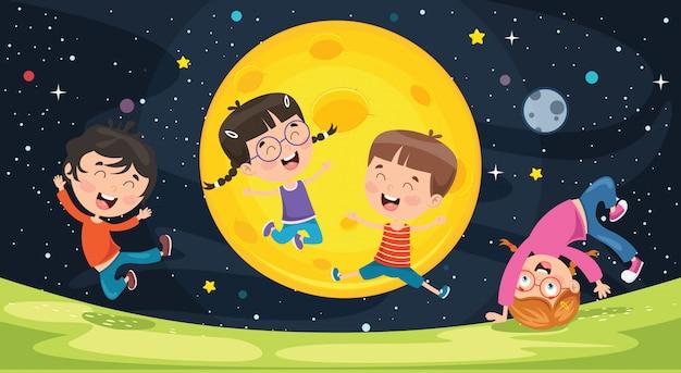 Dzieci bawiące się na zewnątrz w nocy