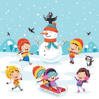 Dzieci bawiące się na zewnątrz w zimie