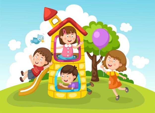 Dzieci bawiące się na zewnątrz