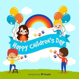 Dzieci bawiące się ręcznie rysowane tła