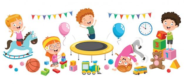 Dzieci bawiące się różnymi zabawkami