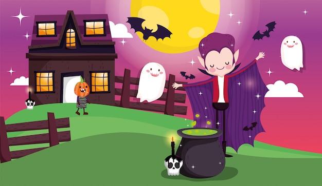 Dzieci bawiące się w halloween