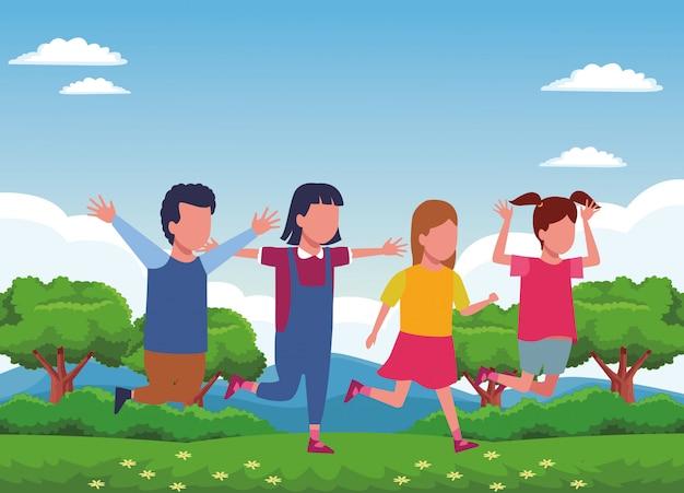 Dzieci bawiące się w kreskówki