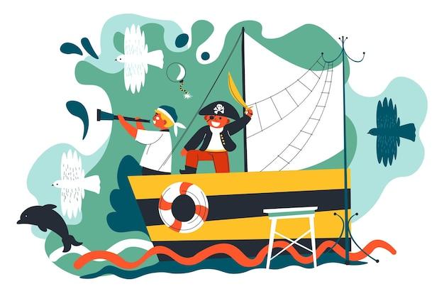 Dzieci bawiące się w parku rozrywki grając w pirackie gry na starym drewnianym statku. dzieci odpoczywają i bawią się nad rzeką lub basenem. przyjaciele wyobrażający sobie grę kapitanów i marynarzy. wektor w stylu płaskiej