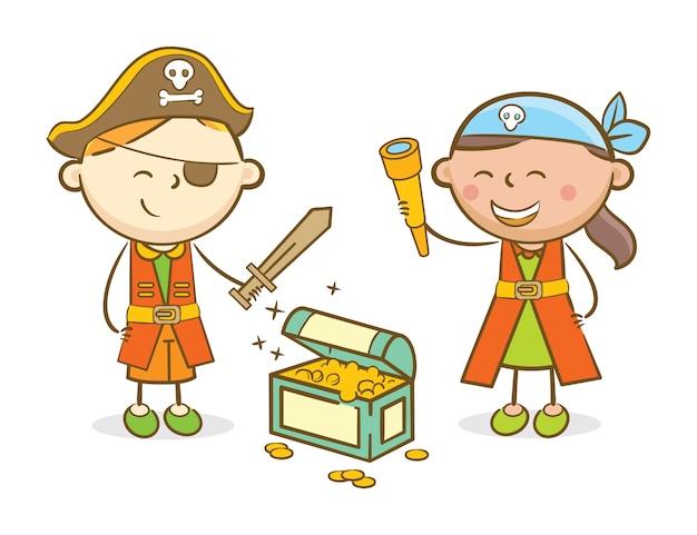 Dzieci bawiące się w pirata