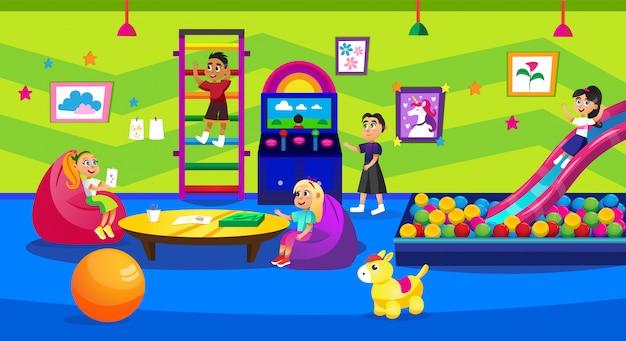 Dzieci bawiące się w pokoju z zabawkami.