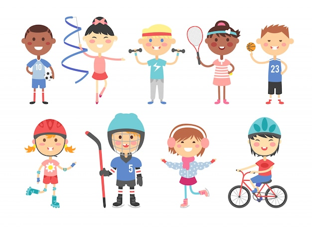 Dzieci bawiące się w różne gry sportowe, takie jak hokej, piłka nożna, gimnastyka, fitness, tenis, koszykówka, jazda na rolkach, rower płaski wektor.