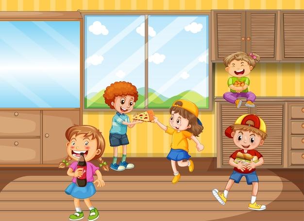 Dzieci bawiące się w salonie