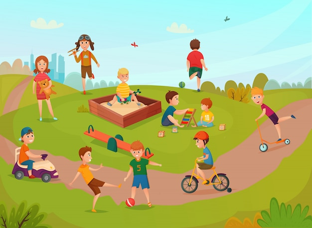 Dzieci bawiące się w skład
