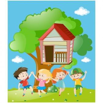 Dzieci bawiące się w tle treehouse