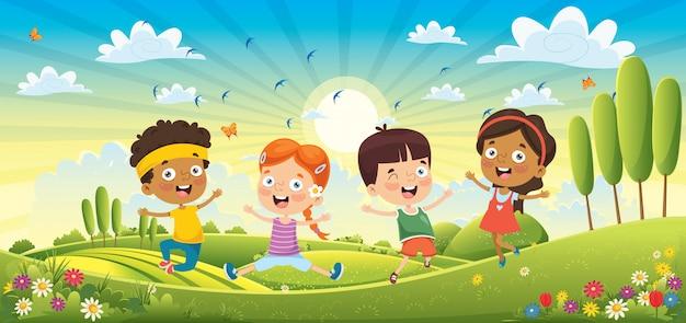 Dzieci bawiące się w wiosenny krajobraz