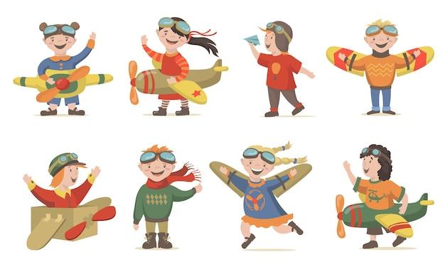 Dzieci bawiące się w zestaw załogi lotniczej