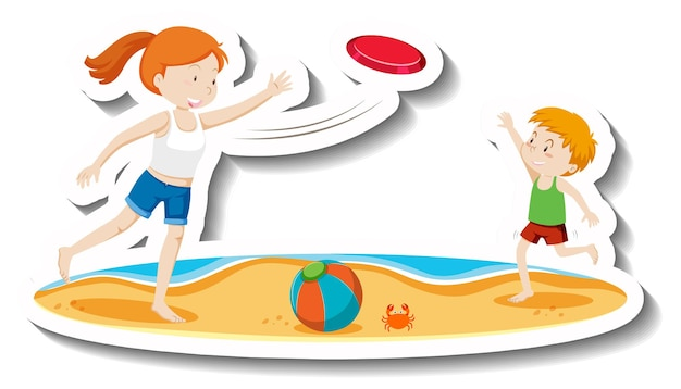 Dzieci bawiące się we frisbee na plaży?