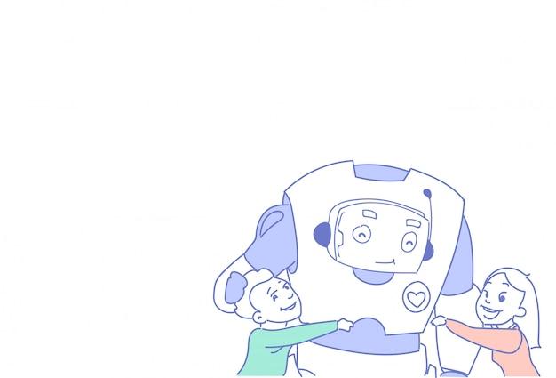 Dzieci bawiące się współczesnymi robotami ludzie komunikują się z futurystyczną technologią sztucznej inteligencji