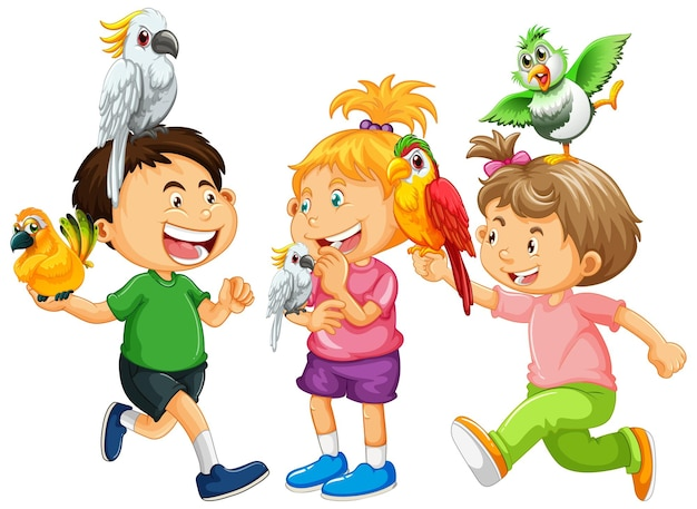 Dzieci bawiące się z papugami na białym tle