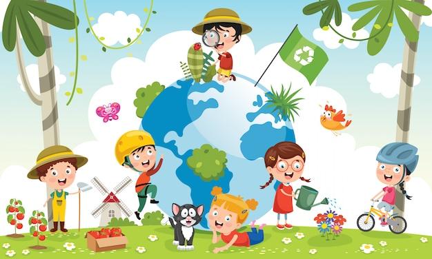 Dzieci bawiące się z ziemią