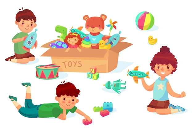 Dzieci bawiące się zabawkami. chłopiec trzyma rakietę w ręce, facet z cegieł. dziewczyna bawi się samolotem. karton z różnymi zabawkami jak samochód i lalka, samochód, gumowa kaczka. dzieci mają wektor rozrywki