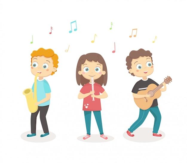 Dzieci bawić się instrumenty muzycznych ilustracyjnych na bielu