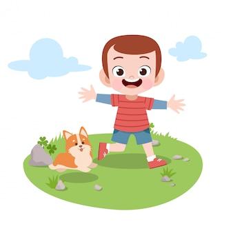 Dzieci bawić się w ogrodowej wektorowej ilustraci