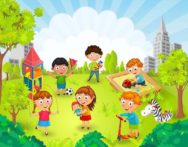 Dzieci bawić się w parkowej ilustraci
