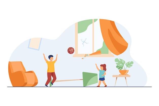 Dzieci bez opieki wprowadzające chaos w domu. dzieci bawiące się w piłkę w pomieszczeniu wśród bałaganu płaskiej ilustracji