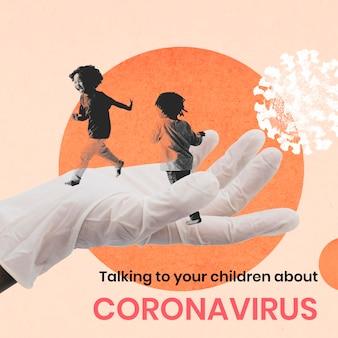 Dzieci biegają bezpiecznie podczas pandemii koronawirusa wektor tła