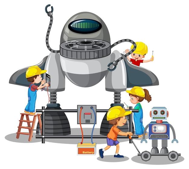 Dzieci budują razem robota na białym tle