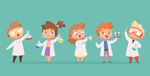 Dzieci chemii. nauka dzieci w szkole znaków w ludziach kreskówek laboratorium.