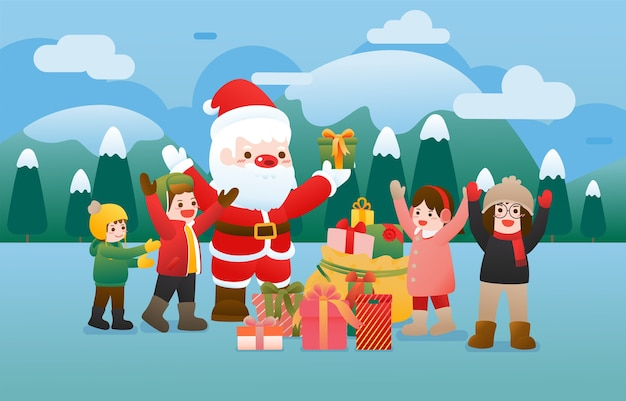 Dzieci chętnie otrzymują prezenty w zimowe święta.