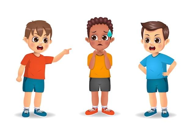 Dzieci chłopcy wściekli na siebie