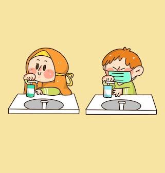 Dzieci chłopiec i dziewczynka mycie rąk doodle naklejki ilustracji