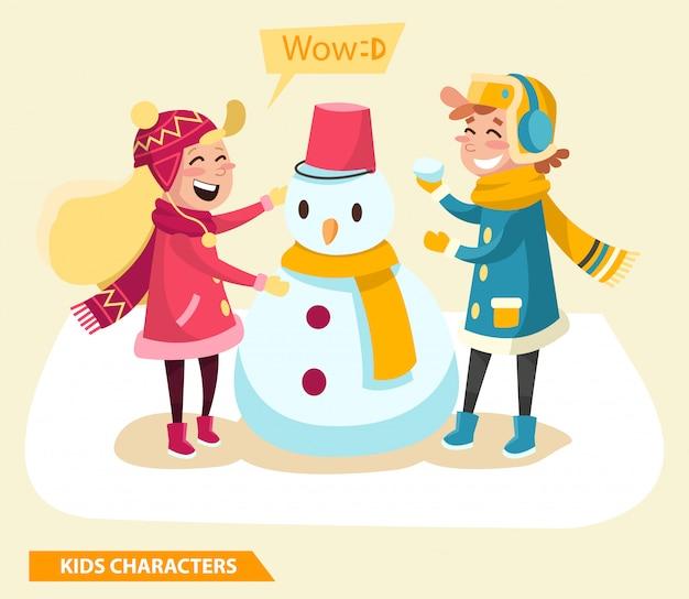 Dzieci chłopiec i dziewczynka znaków projekt z bałwana