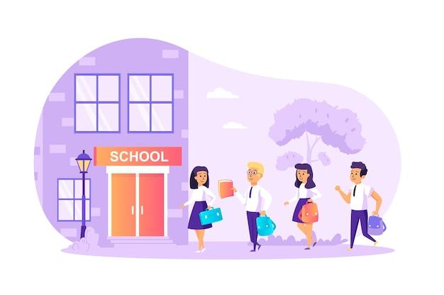 Dzieci chodzą do szkoły płaska koncepcja ze sceną postaci ludzi