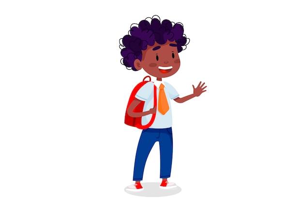 Dzieci chodzą do szkoły. powrót do ilustracji szkoły. ilustracja edukacja dzieci na na białym tle.