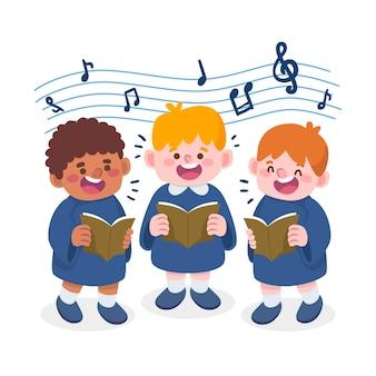 Dzieci chór śpiewający styl kreskówki