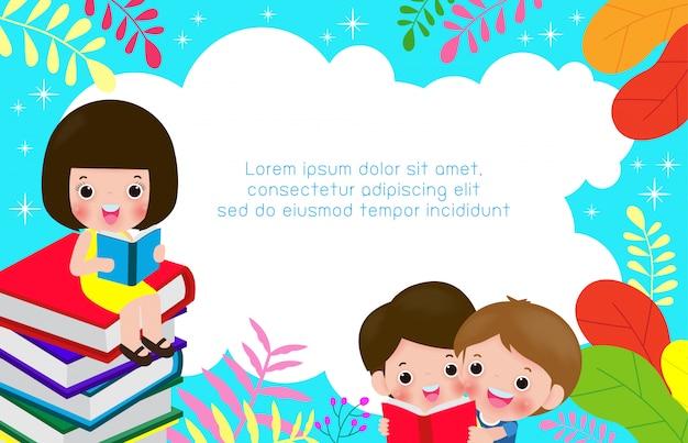 Dzieci, czytanie książek, światowy dzień książki, powrót do szkoły, ilustracja koncepcja edukacji