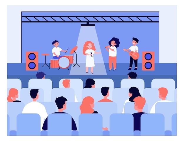 Dzieci Dając Koncert Dla Rodziców Na Ilustracji Szkoły Premium Wektorów