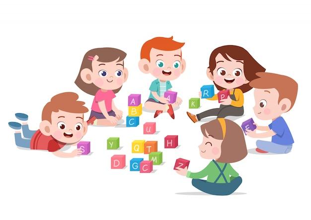 Dzieci dzieci bawiące się z bloków zabawek ilustracji