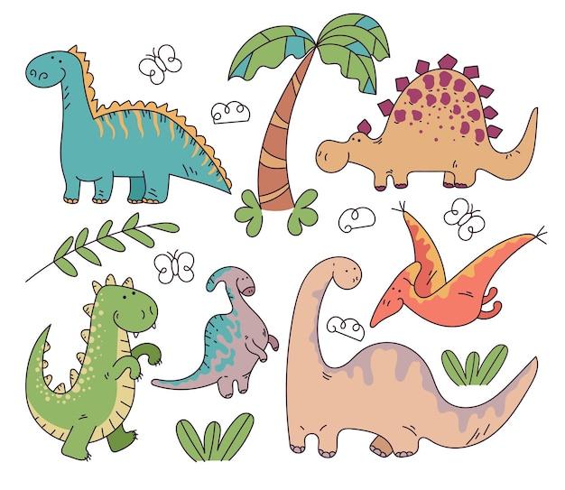 Dzieci dzieciak zabawa kreskówka ręcznie rysowane doodle dinozaury na białym tle zestaw